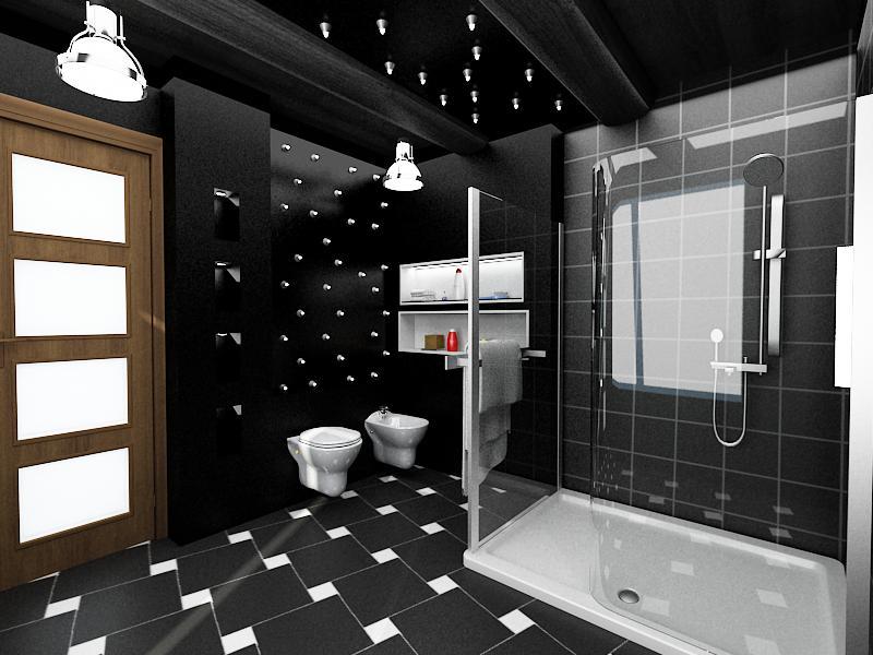Дизайн ванны в черно-белом цвете